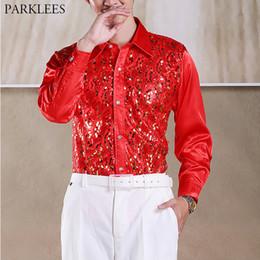 Rote pailletten-tanzkleid-hülse online-Rote Paillette Glitter Shirt Männer Langarm-Button-Down-Bühne Abendkleid Shirts der Männer Tanz-Host Chorus Shirt Mann Chemise Homme 2XL