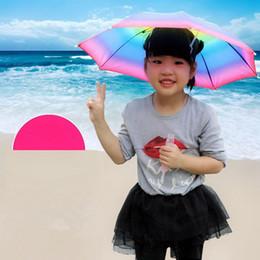 Головные уборы для рыбалки онлайн-Складной Sun Rainbow Зонт Шляпа Дети Открытый Гольф Рыбалка Отдых На Природе Shade Пляж Головные Уборы Головные Уборы Зонтики LJJA2709