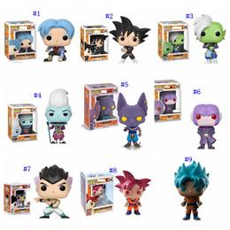 Bola de dragão z vegeta on-line-23 Estilo Funko POP Dragon Ball Z brinquedos Novo Anime Super Saiya Son Goku Vegeta IV Frieza Beerus PVC bonecas MMA2313