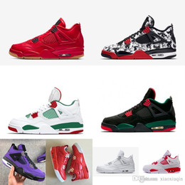 113992704759ef retro 4s 2019 - Men retro 4s basketball shoes j4 Singles Day Red Blacks  Floral Tattoo