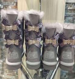 Mittlere schuhe online-2020 neue australische Schneeschuhe Mittelrohr Art und Weise warme Frauen Baumwoll Schuhebowknot-drill Schneeschuh- Größe