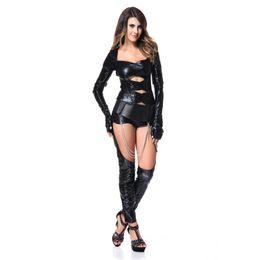 Um pedaço preto bodysuit on-line-GLAMCARE Fantasias Cosplay Celebridade Catsuit One Piece Wetlook Skinny Stripper Bodysuit Night Club Espartilho Catsuit Outfit Preto