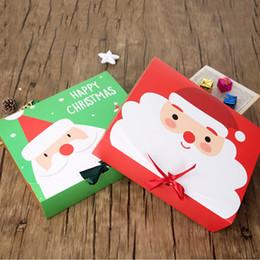 papel de regalo rojo de navidad Rebajas 10 PC / porción del arco de la cinta Navidad caja de regalo grande verde rojo de las cajas de empaquetado Craft envoltura para almacenamiento de bricolaje caja de papel caja de dulces de chocolate