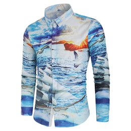 sailing shirts Coupons - Hemiks Men Sea Sailing Boat Sunset Scenery Print Casual Shirt Spring Lapel Long Sleeve Slim Fit Shirts Men'S Casual Tops Blouses