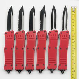 Cuchillo bm43 online-Gran A161 Cuchillos automáticos Rojo 440C Hoja de acero EDC táctico Navaja de camping Herramientas BM43 616 A162 3350 con funda de nylon
