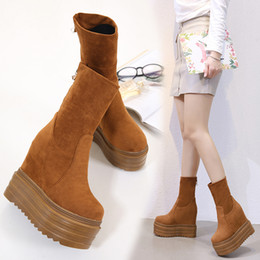 14cm cuñas de tacón alto botas de chicas Aumentar el talón de alta plataforma de los zapatos de las mujeres Negro plataforma Brown Botas Calcetines