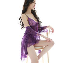 Женские платья онлайн-Дамы сексуальное привлекательное пижамы из органзы, утолщающее нижнее белье и спальное платье для ресниц.