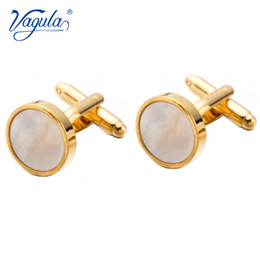Кнопки из жемчужной рубашки онлайн-VAGULA Classic Gold-Color Plated Mother Pearl Copper Men's Cuff link  gift Party Wedding Suit Shirt Buttons Cufflinks 718