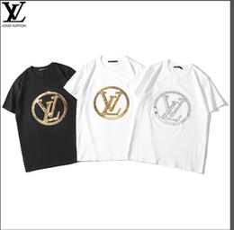 Schwarzes farbentwurfshemd online-Luxus Diamant Design hochwertige Pailletten bestickt Herren und Damen Kurzarm T-Shirt Marke Baumwolljacke schwarz zweifarbig s-xxl