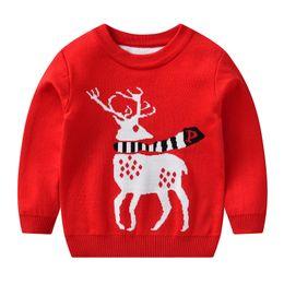 Kinderkleidung pullover online-Weihnachten Kinder Outfits Kinder Elch Hirsch Pullover 3 Farbe Weihnachtspullover Sweatshirt Häkeln Stricken Pullover Warm Tops für Kinderkleidung M483