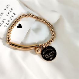 Rosas pulseira elástica on-line-HZ 2019 Coréia Metalic Rose Gold Rodada Cartão Beads Ajustável Elastic Projetado Pulseira de Verão Pulseira de Jóias de Mão de Ouro para As Mulheres