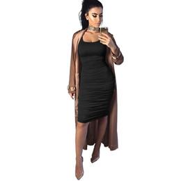 chalecos de seda Rebajas Vestido de cintura alta de crepe grande sexy para mujer de 4 colores color seda de seda color sólido una palabra cuello vendaje chaleco y rodilla falda larga