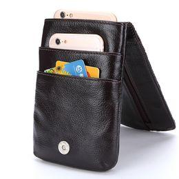 Чехол для мобильного телефона онлайн-Men  Real Genuine Leather Waist Pack Bag Mini Cell/Mobile Phone Pockets Case Coin Purse Fanny Money Bags Vintage Waist Bag