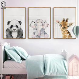 Kreş Hayvan Posterler Duvar Sanatı Tuval Baskılı Duvar Dekor Panda Zürafa Fil Nordic Kawaii Resim Çocuk Odası Dekor Için supplier giraffe nursery decor nereden zürafa kreş dekor tedarikçiler