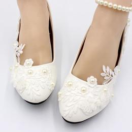 La main fait sur commande 4.5CM / 3CM / 8.5CM bas talon haut mariage mariage chaussures perles ivoire cheville perles élastique chaussure de demoiselle d'honneur ? partir de fabricateur