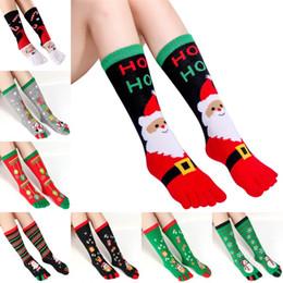 2020 sudor de navidad Medias de navidad Otoño Invierno suéter l del dedo del pie calcetines calientes unisex de Navidad calcetines del dedo del pie de impresión multicolor absorbentes de cinco dedos del calcetín de algodón del calcetín sudor de navidad baratos