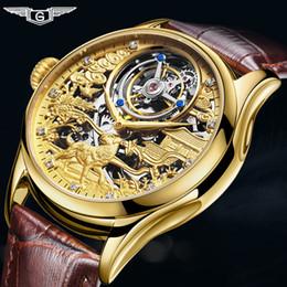 Vigilanza della mano per lusso degli uomini online-Reale Tourbillon GUANQIN 2019 Orologio Sapphire orologio meccanico della mano vento uomini dell'orologio vigilanza di stile superiore di marca di lusso relogio masculino