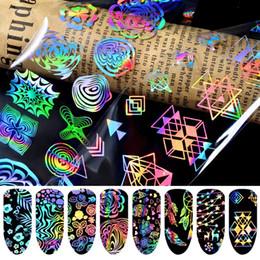 weihnachtsblumen-nagelkunst Rabatt 8pcs Charming Fantastische Laser-Nagel-Kunst Transferfolie Aufkleber Geometrische Weihnachtsblumen Snow Design Maniküre Zubehör