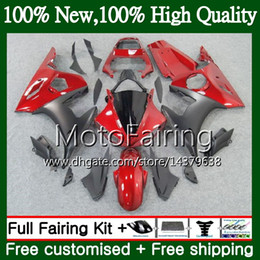 2019 kit de carenado r6 rojo negro Cuerpo para YAMAHA YZF600 YZF R6 03 04 05 YZFR6 03 04 05 Hot Red black 89MF6 YZF 600 R 6 YZF-R600 YZF-R6 2003 2004 2005 Fairing Body Kit kit de carenado r6 rojo negro baratos