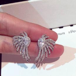 Супер сверкающие новые горячие модули моды роскошный дизайнер полный бриллианты циркон прекрасные милые крылья ангела серьги стержня для женщины девушки от