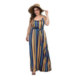 Женская одежда онлайн-Новое поступление 4XL 3XL 2XL XL L Женская Плюс Размер Dressess Летняя женская одежда Полосатый принт Длинное платье