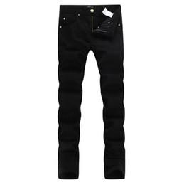 Collant bianco per gli uomini online-Nuovo 2019 Uomo nero Jeans Denim bianchi Cotone moda Stretto primavera autunno pantaloni da uomo A1408 PHILIPP PLEIN DSQUARED2 DSQ2 D2 Versace