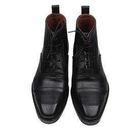 2019 stivali neri in pelle italiana Sipriks Mens vera pelle nera Stivali italiana personalizzato Goodyear Boots Classic Leather Boots opera scolpita caviglia stivali neri in pelle italiana economici