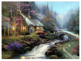 canvas art di thomas kinkade Sconti Thomas kinkade Landscape Handpainted  HD Print Wall Art OIL PAINTING Decor On Canvas Multi Custom Sizes  Frame