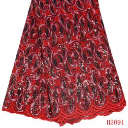 Tecido organza para vestidos de noiva on-line-Tecidos de Renda Africano Organza Vermelho Nigéria 5 Metros de Alta Qualidade Vestido De Noiva De Lantejoulas Francês Lace Tecido X2091