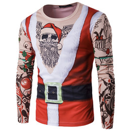 2021 magliette di natale mens Falso Due Pezzi 3D Natale Stampa T Shirt da Uomo 2017 Babbo Natale Tee Shirt Homme Harajuku Hip Hop Divertente Camisetas Slim Top Tees WGTX181