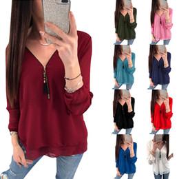 modelos de blusas de pescoço Desconto 9 cores mulheres blusas explosão modelos com decote em V de manga comprida zipper cross-bandwidth pine chiffon camisa 6203
