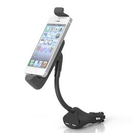 Douille double usb universelle en Ligne-Support de téléphone de voiture avec double chargeur USB allume-cigare Support de support de montage pour berceaux pour iPhone 5 6 7 8 X Xs Xr Xs Max
