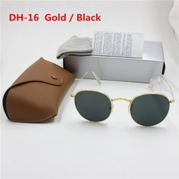 2019 mejores gafas de sol fotocromáticas YXVAXL Moda de alta calidad gafas de sol redondas para hombre para mujer Diseñador de la marca SunGlasses Oro Metal Negro Oscuro 50 mm Lentes de vidrio Mejor caja marrón