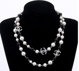Collana lunga con perle lunghe simulate per donne Collana lunga collana pendente n.5 con doppio strato da