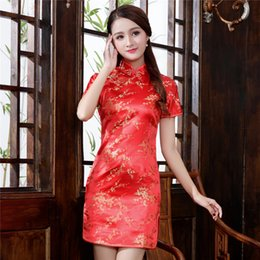sexy chinese style dresses Promo Codes - High-end Atmosphere Red Lady Qipao Classic Chinese Style Cheongsam Vintage Mandarin Collar Vestidos Sexy Mini Chinese Dress 6XL
