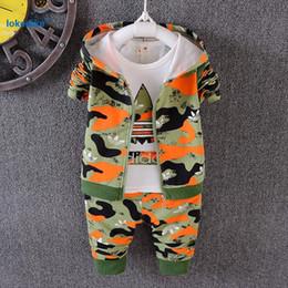 camuffamento all'ingrosso tuta Sconti Wholesale- 3 pezzi Toddler Boys vestiti Autunno 2017 New Fashion Camouflage Sport Tute Autunno Bambini Ragazzi Abbigliamento Set Cappotto Con Cappuccio T1804