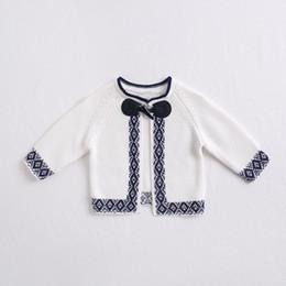 Cappotti bianchi di lolita online-Abbigliamento bambina Cardigan bianco design maglione cappotto ragazza top Maglioni autunnali