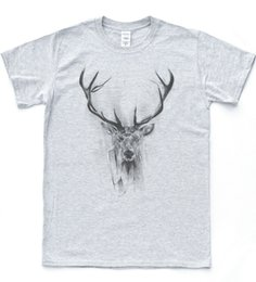 stags head Promo Codes - Deer Sketch Drawing T-shirt Art Animal Stag Head Tee Indie Vintage Hipster TopShort Sleeve Plus Size t-shirt colour jersey Print t shirt