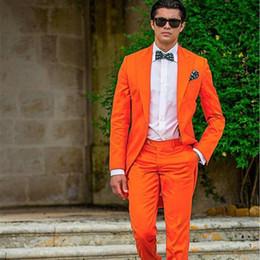 Canada Sunshine Orange Tailcoat Revers de mariée marié smoké Slim Fit Blazer Robe de mariage pour homme Vêtements de bal d'étudiants (Veste + pantalon) Offre