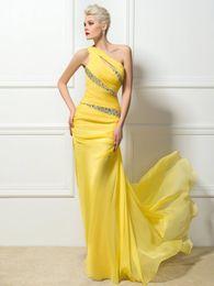 Argentina Elegantes vestidos de noche largos de gasa amarilla en 3D Vestidos de baile de un solo hombro Una línea de rebordear vestidos de noche formales Vestidos para ocasiones especiales supplier graceful evening yellow dress Suministro