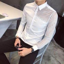 Korea mans lässig schmaler passend online-Casual Shirts Herren Spitzenhemd Party Prom Sehen Throught Shirt Männer Korea Slim Fit Schwarz Weiß Chemise Homme Social Club M-3XL