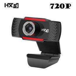 веб-камера видеозаписи Скидка HXSJ HD 720P USB Webcam Rotatable PC Computer Camera Video Calling and Recording with Noise-canceling Mic Clip on Style For PC