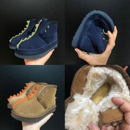 patrón de arranque libre Rebajas 2019 nuevo Little monster dinosaur kids magic post mini botas de nieve niño y niñas de gamuza de alta calidad Mantenga las botas de invierno cálido