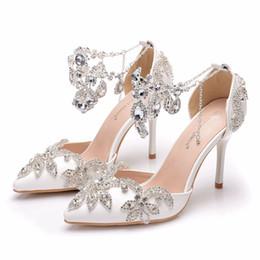 Applique Rhinestone Crystal Wedding Shoes Australia   New