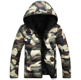 камуфляжный длинный пуховик Скидка Hooded Mens Coats Winter Thick Long Sleeve Mens Outerwear Two Sides Male Down Camouflage Colorful Designer