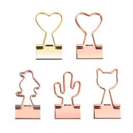 2019 suporte para cartão de papel 12pcs Cat Criativo Coração Cactus Binder Pilha Clipe de Papel Clipes Foto mensagem de bilhete Organizador coreano Escritório Escola Suppli