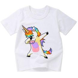Großhandelsnettes Tierdruck-buntes Baby scherzt Kleidung-Kurzschluss-Hülsen-Pullover-Sommer-T-Shirt für Kindertagesgeschenk von Fabrikanten