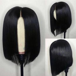 Perucas de cabelo humano afro curto on-line-Bob perucas para mulheres afro-americanas virgens peruanas bob cut curta frente do laço barato perucas de cabelo humano