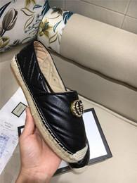 Tissage de paille en Ligne-Mocassins classiques en cuir pour femmes, chaussures espadrilles avec semelles en toile de paille, chaussures de sport tout-aller pour femmes