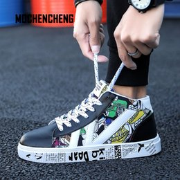 Men's Vulcanize Shoes Smart Men Sneaker Old School Skateboard Shoes High Top Graffiti Print Round Toe Lace-up Hip Hop Male Sneaker Rubber Skateboard Shoes Shoes